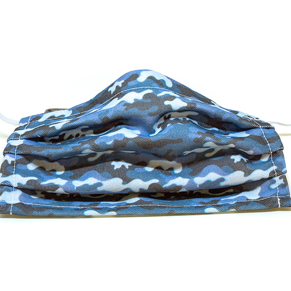 Blue Camouflage Print Face Mask